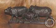 African wooden Buffalo family