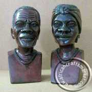 African handcrafted wooden bust pair