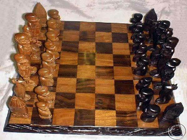 African Wooden Tribes Chess Set Zimbabwe