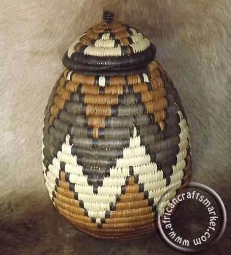 South African Baskets: African Zulu Grass Woven Basket