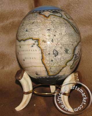 Decoupage ostrich egg of African map
