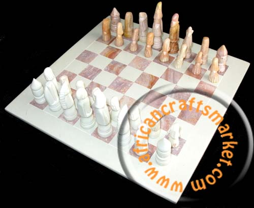 African Handcrafted Abstract Animal Chess Set