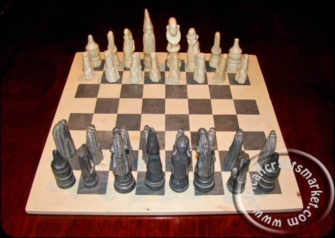 African Soapstone Chess Set Square