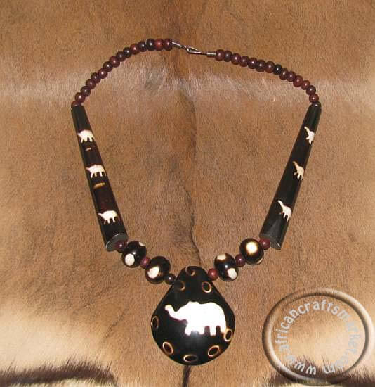 African bone beaded necklace