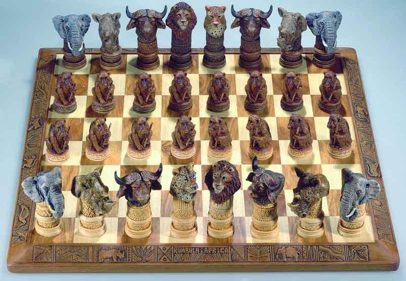 African Big 5 Animal Chess Set
