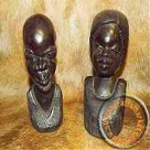 African hand carved wooden head set