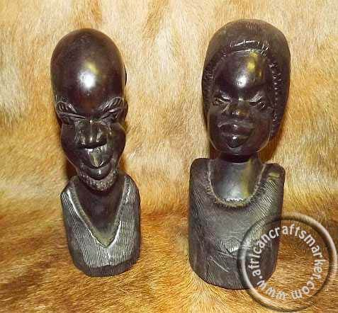 African Hand Carved Ebony Bust Set