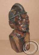 African hand carved wooden Iron wood Shona Chief bust
