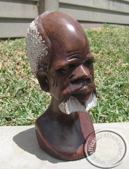 African hand carved soapstone tribal old man bust head