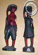 African Wooden Couple Candle Holder