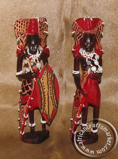 African Hand Carved Wooden Masai Mare Warrior Couple From