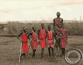Maasai men in traditional trace dance