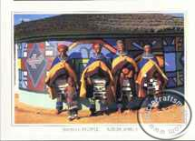 Ndebele woamen outside painted houde
