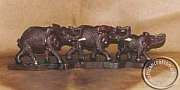Wooden carved Elephant family