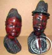 African hand carved wooden bust set