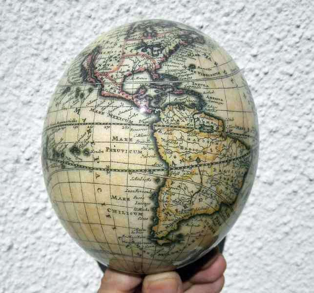 World map ostrich egg