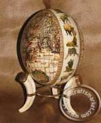World map decoupage ostrich egg