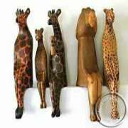African hand carved wooden sitting animals