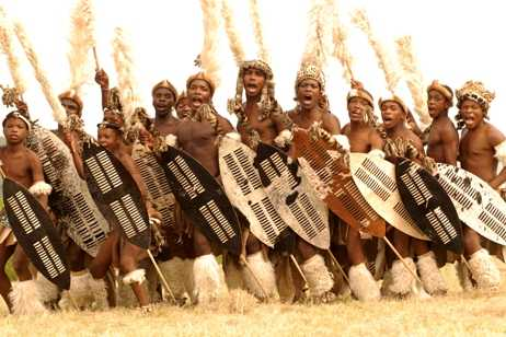 Zulu men and shield