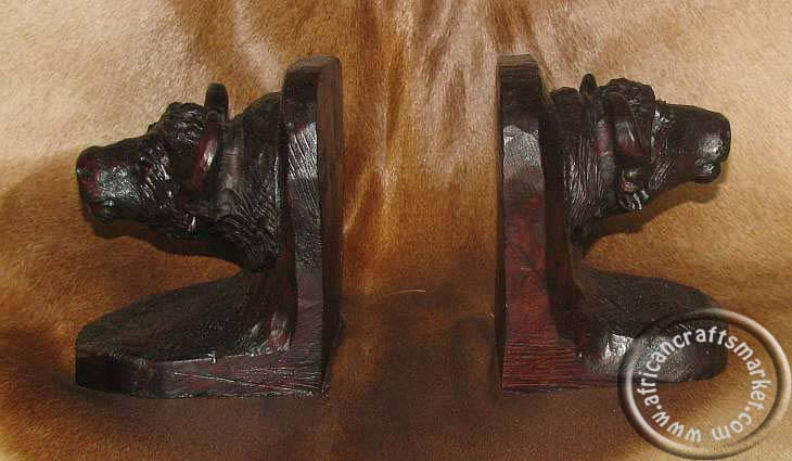 African wooden buffalo bookends