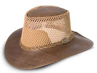 African bufallo leather mesh bush hat