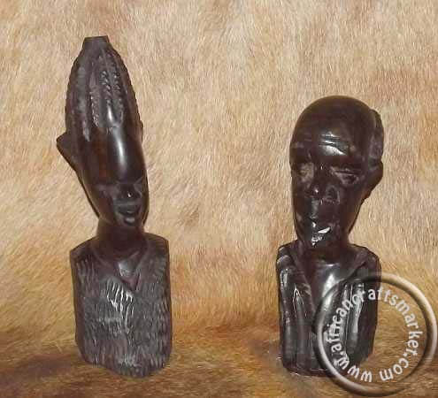 Wooden Ebony couple bust