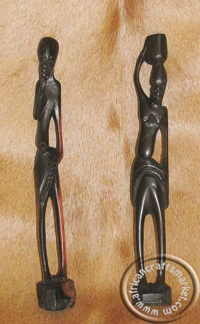 African skinnynatural ebony wood couple