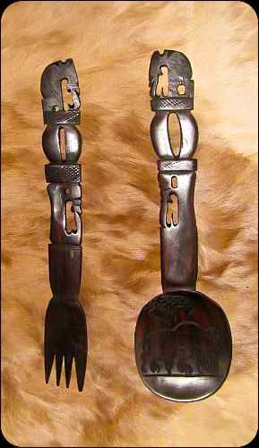African Wood Carved Salad Servers