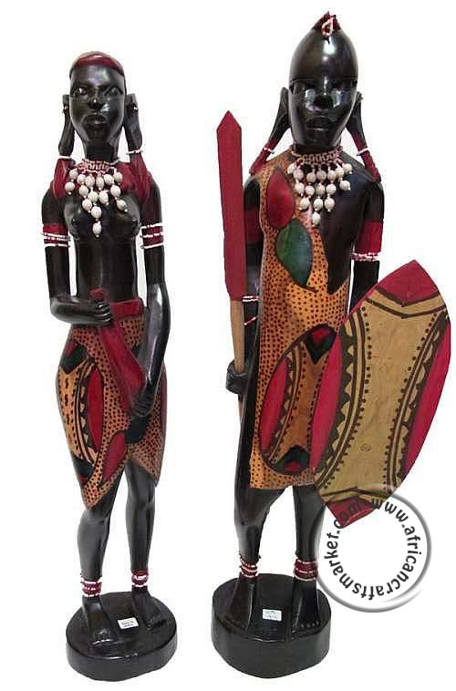 African Masai wooden carved couple