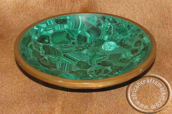 Malachite stone bowl