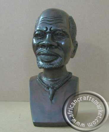 African hand carved Iron wood bust