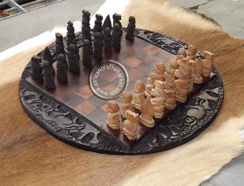African Wooden Zulu Chess Set
