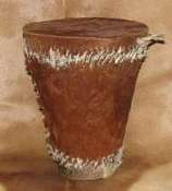 African animal hide Zulu drum