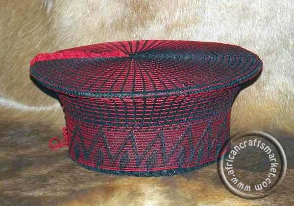 Red and white Zulu hat