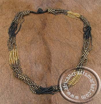 African Zulu necklace - gold black