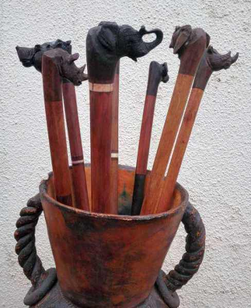 African animal head canes