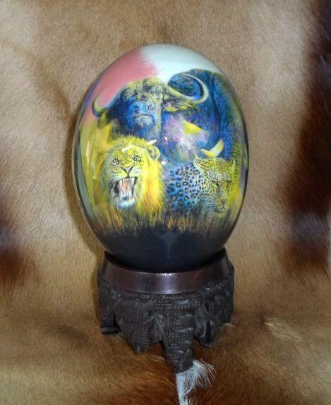 African map big 5 ostrich egg