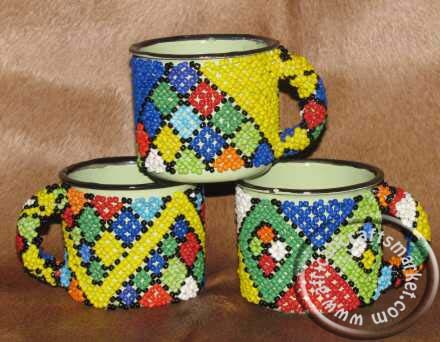 African beaded coffee mug