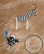 African animal beaded key rings