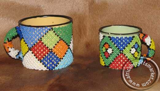 African Zulu beaded mugs