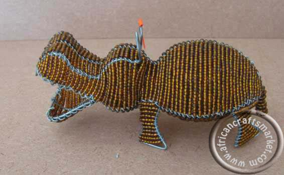 African wire beaded hippo