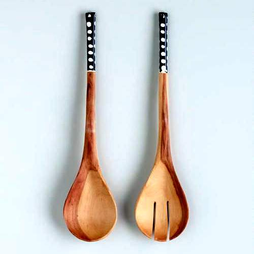 African Bone Handle Salad Server Set