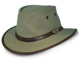 b74c1898022 African bush hat. Canvas Leather Trim Bush Hat (Olive Green)