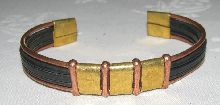 African Metal Wire and Rubber Inlay Bracelets