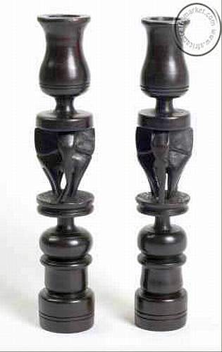 African Ebony elephant candle holders