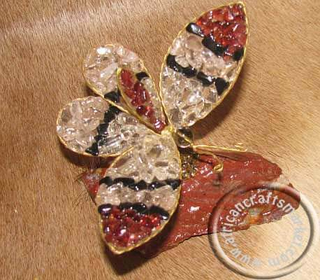 African gemstone butterfly - 9cm