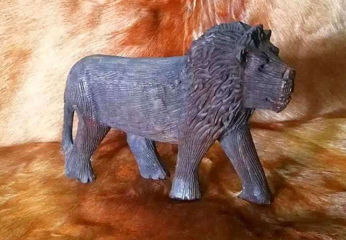 African wood carved lion
