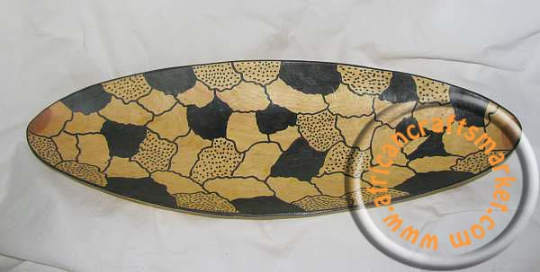 African wooden carved oval bowl