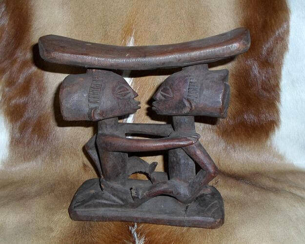 African Nkishi power statue headrest