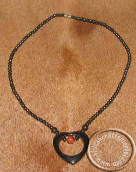 African Hemitite stone heart necklace
